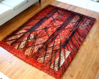 "Vintage Rya Rug Scandinavian Wool Marianne Richter ""Kolmarden"" Design Sweden 1960s Red Large Size Forest Mid Century Decor"