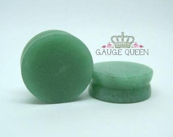 "Jade Stone Plugs / Gauges. 7/8"" / 22mm, 15/16"" / 24mm"
