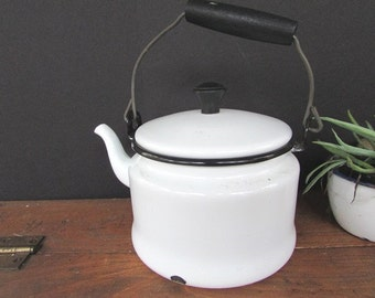 Enamel Teapot Vintage White Small Tea Kettle White Enamelware