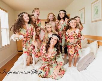 Wedding Party Robe, Custom Bridesmaid Wrap, Set of Wedding Robes, Handmade Womens Robes, Floral Bride Robe, Womens Kimono Robe