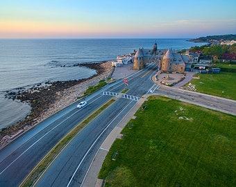 Aerial Photography, Narragansett Beach Photo, Rhode Island Coastal Art Picture, Narragansett RI Towers Sunrise Print, Ocean Drive Photograph