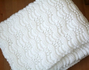 Baptism Blanket, Hand Knit Baby Blanket, White Christening Blanket, Knitted Heirloom Blanket, Christening Gift, White Wool Baby Blanket