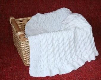 Cable Knit Baby Blanket, White Pram blanket, Hand Knit Stroller Blanket, New Baby Gift, Car Seat Blanket, Gender Neutral Newborn Blanket