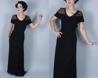 1940s By Night gown | vintage 40s black rayon crepe gown with lace yoke | large