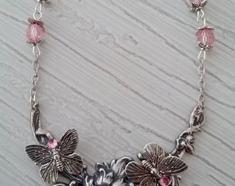 Flower and Butterfly pendant necklace