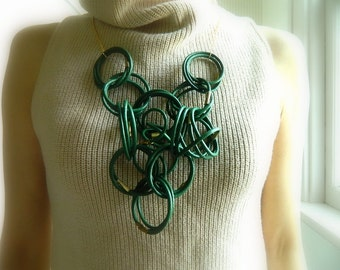Green Leather Necklace Statement Necklace geometric Necklace modern Necklace extra Long necklace Big Necklace Bib Necklace Knot Necklace