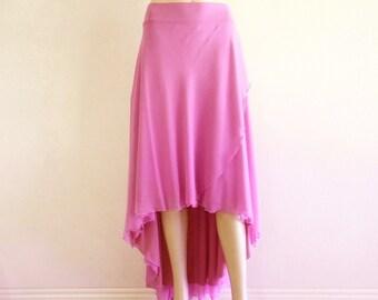 Lavender Bridesmaid Skirt. Lavender High Low Skirt. Chiffon Maxi Skirt. Long Evening Skirt.