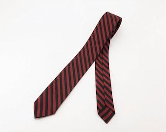 1950s-60s MOD Striped Skinny Tie Vintage Mens Narrow Red & Black Striped Mad Men Era Mid Century Modern Necktie