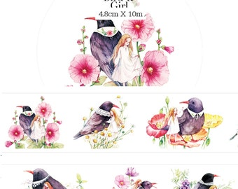 1 Roll of  Limited Edition Washi Tape : Birds and Girls