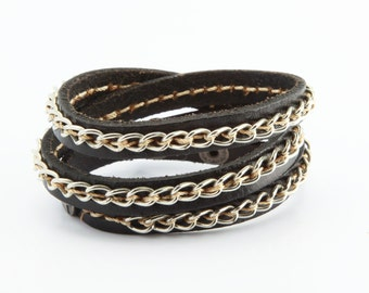 Thin Wrap Leather Bracelet with Stiched on Metal Chain. Skinny leather wrap bracelet with metal chain. Punk jewelry. B004