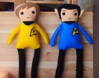 """Star Trek Inspired Kirk & Spock Felt Cuddly Toys/Rag Dolls 33cm (13"""") tall"""