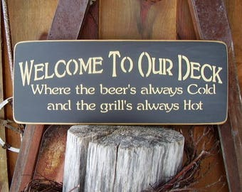Welcome Sign, Welcome To Our Deck, Deck Decor, Backyard Decor, Backyard Signs, Deck Rules, Home Decor, Wood Signs