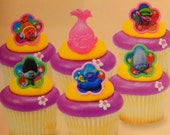 24 Trolls Cupcake Cake Topper Rings Birthday Party Decoration