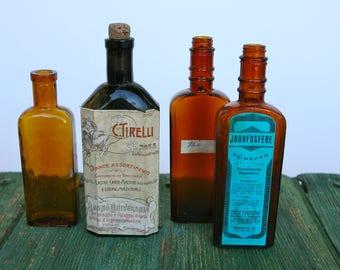 Vintage pharmaceutical brown glass bottles