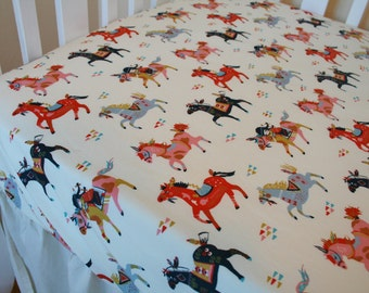 Organic Crib Sheet, Fitted Crib Sheet, Organic Toddler Sheet, Floral Crib Sheet, Arrows, Teepees, Ponies, Horses, Wildland
