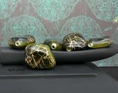 Large Acrylic Nugget Focal Bead - Ivy Green Gold Swirl - Bohemian Hippie Green Nugget Bead - Pkg. 6