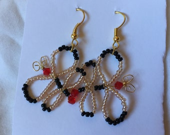 HC Light Pink and Black Seed Beads with Dark Red Bicone Swarovski Crystals Butterfly Earrings