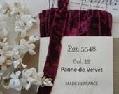 "1y Vintage French 5/8"" Burgandy Wine Crushed Panne Shimmery Velvet Millinery Ribbon Trim Ladies Hat Victorian Flapper Dress Belting Bow"