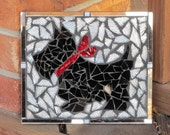 Adorable Stained Glass Scotty Dog Mosaic Art Piece