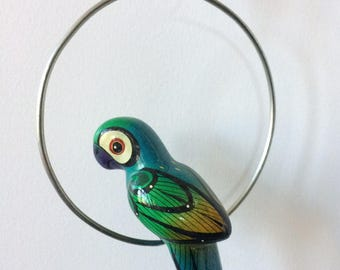 hand painted ceramic parrot bird with perch ring wall hanging