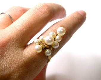 Vintage Pearl Cluster Ring - 14k Yellow Gold Pearl Ring - Size 7 1/4 - Weight 4.4 Grams - Cocktail Ring - Cluster Ring # 1244