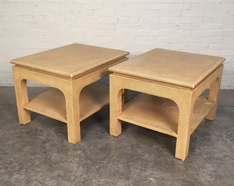 Harrison-Van Horn Raffia End Table / Side Table Pair Laquered Grass Cloth - SHIPPING NOT INCLUDED