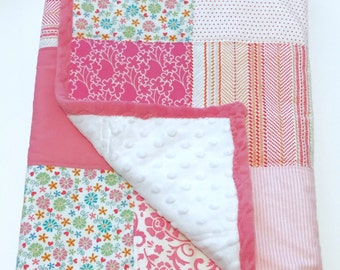 "Adorable Patchwork Blanket/Quilt backed with Soft White Dot Minky  34""x34""  *Ready to Ship*"