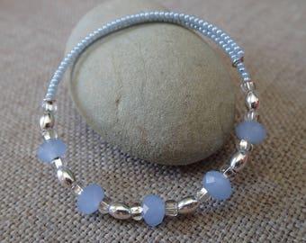 Baby Blue milk glass adjustable memory wire bracelets