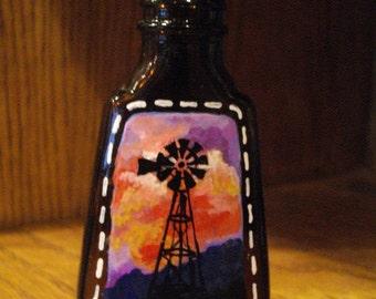 WINDMILL at SUNSET Hand Painted Vanilla Bottle