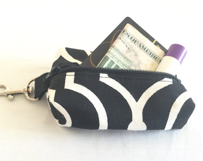 Zippered Keychain Pouch, Coin Purse, Card Holder, Tissue holder, Dog walking bag, Black and White
