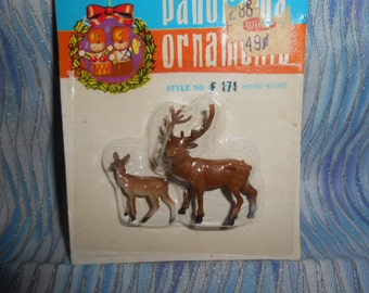 Two Miniature Deer-Old Store Stock