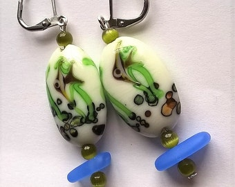 Adorable Lever Back Earrings: White Fish Patterned Lampwork Glass Beads, Blue Recycle Glass Beads, Olive Green Optical Glass Beads
