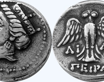 TYCHE, Greek Goddess of Luck & Fortune, and Her Owl, Change Your Luck, Antique Silver Finish, (6-S)