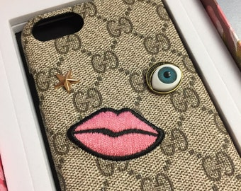 SALE iPhone 7 /7 PlusCase embroidered face luxury case