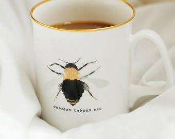 British Bee Bone China Mug with 22kt Gold Rim and Bee Gift Box | Bee Mug Bee Cup Bumblebee Honey Bee Carder Bee Bee Lover Bee Gift Spring
