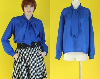 Vintage 70s Bow Blouse - Secretary Blouse - Royal Blue Shirt - 80s Blouse - Tie Neck Blouse - Jewel Tone Blue Blouse - Size Large / XL