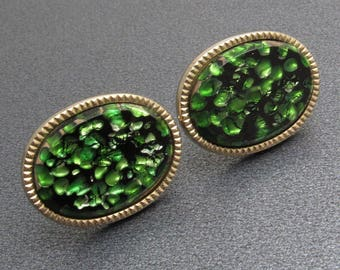 Vintage Cufflinks Green Art Glass Mens Jewelry H842