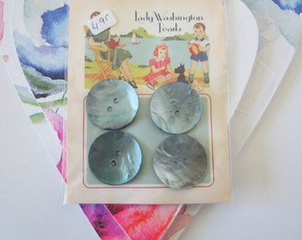 Blue/Grey Mother of Pearl Buttons- 1 inch- 4 on a card