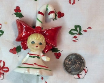 Lefton Mini Candy Cane Girl Bell with Bow