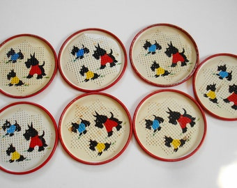 Scotty Dog Coasters Pieced Metal Lot of 7