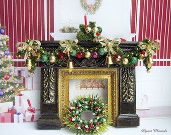 1:12 Scale Miniature Christmas fireplace with garland and wreath.