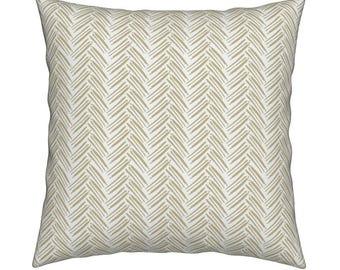 Herringbone Gold Pillow Cover