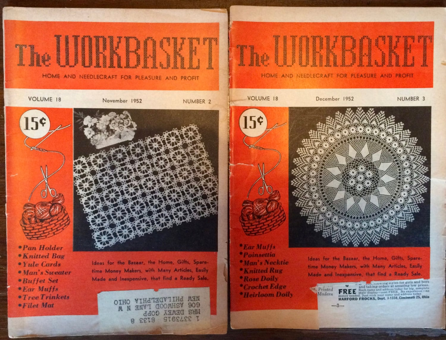 Workbasket magazine 2 issues 1952 5 issues 1951 home and workbasket magazine 2 issues 1952 5 issues 1951 home and needlecraft magazines time capsule knit crochet needlework patterns bankloansurffo Choice Image