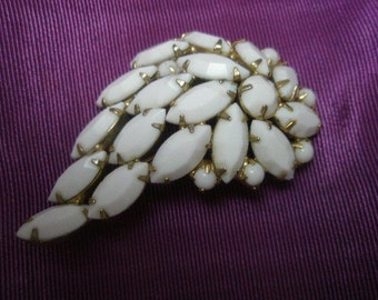 40s brooch white glass stones pin paisley shape gold metal setting 2.5 inch dramatic