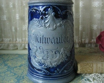 Antique Mathias Girmscheild Cobalt Blue Salt Glazed German Beer Stein Collector's Item Saltglaze