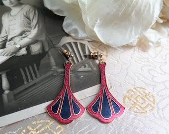 Vintage Cloisonne Enamel Earrings - Vintage Earrings - Art Deco Style Earrings - Drop Earrings - Signed Fish - Pierced Ears - Art Nouveau