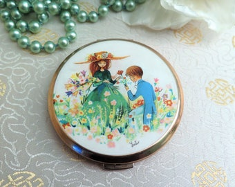 Vintage Stratton Compact - Vintage Compact - Vintage Compact Mirror - 1960s Compact - 1970s Compact - Stars - Foster - Boy and Girl
