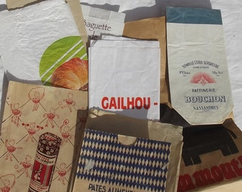 Lot of Vintage French Paper Bags Shop Store Grocery Sacks