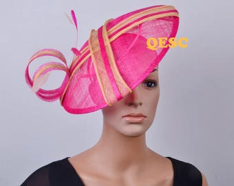 Hot pink champagne gold big sinamay fascinator for Royal Ascot Kentucky Derby Melbourne cup Wedding church