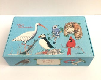 Birds of North America blue pencil box, unused, cardboard school box, vintage school supplies
